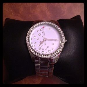 Betsey Johnson silver & bejeweled chain link watch
